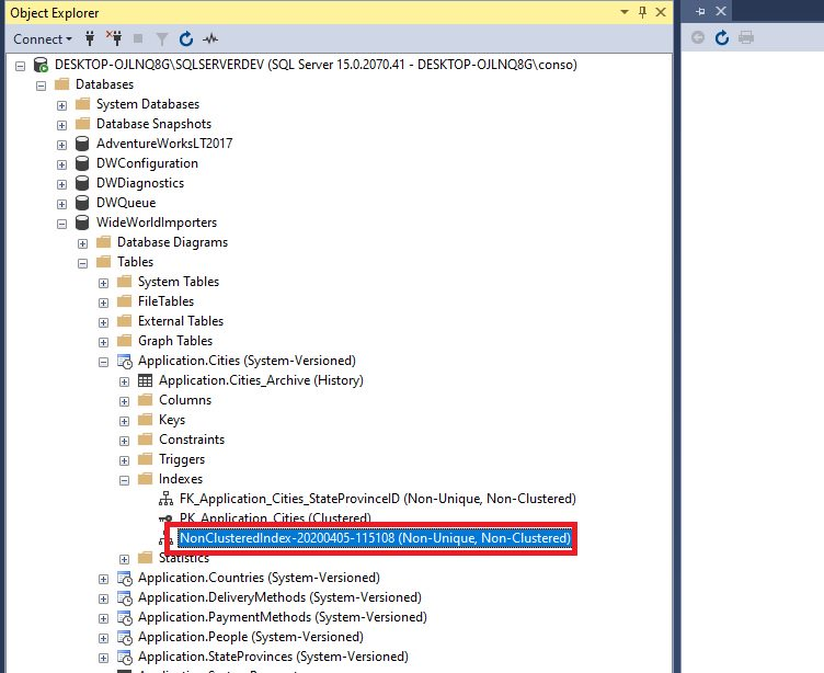 Creating indexes in ssms Step 5